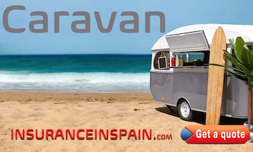 Caravan on the beach with surfboard for caravan insurance in spain with  breakdown recovery