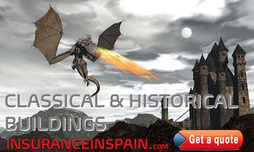 Image of a dragon circling a castle for Castle, fortress and historical buildings insurance in Spain