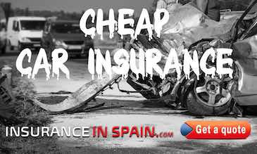 Crashed car showing cheap insurance in Spain