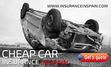 Overturned car on a road advertising Cheap Car Insurance in Spain for UK reg Cars