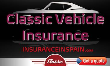 Classic car and motorcycle insurance advert in Spain with classic car in background.