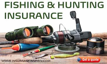 fishing rods reels binoculars and hunting apparel displayed on a table promoting fishing and hunting insurance