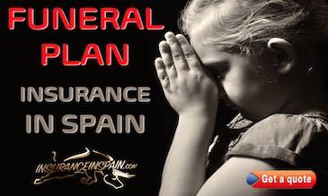 Little girl crying at a graveside in prayer promoting funeral plan insurance in Spain