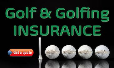 four white golf balls and a T promoting golf and golfing insurance for Expats in Spain