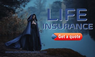 A woman in a black cloak standing forlorn by a river promoting life insurance for www.insuranceinspain.com