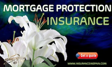 White flowers on a dark blue background promoting mortgage protection and life insurance in spain with www.insuranceinspain.om