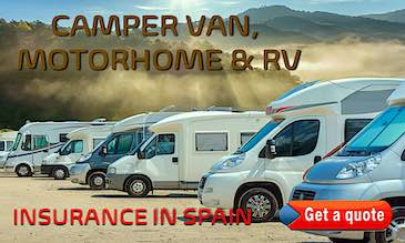 Line of motorhomes, camper vans and RVs promoting cheap insurance quotes in Spain
